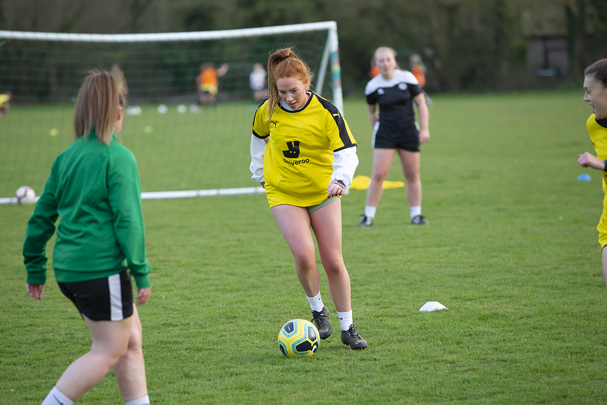 Bex Fry on the ball in Training on Thursday Photo: Neil Holmes