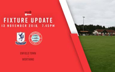 Fixture Update: Enfield Town [A] – League